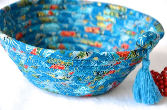 Mother's Day Gift, Key Basket, Lovely Potpourri Bowl, Handmade Candy Dish,  Ring Holder, Hand Coiled Fabric Basket, Handmade Candle Tray
