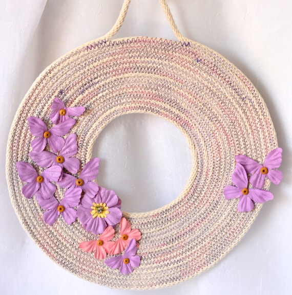 Violet Coiled Wreath, Spring Door Hanger, Lovely Wall Art, Artisan Quilted Rope Wreath, Handmade Floral Home Decor, Modern