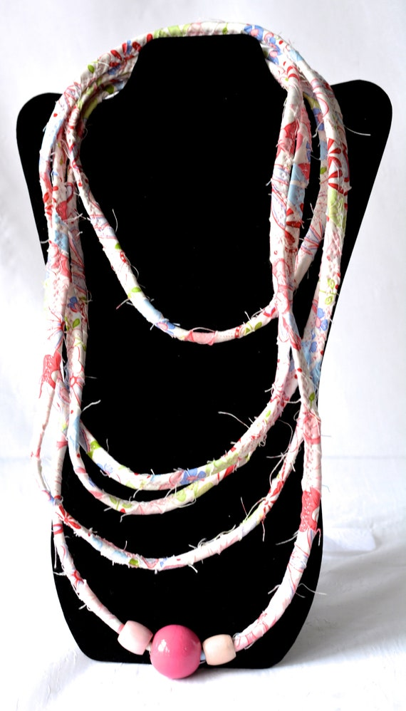 Beach Rope Necklace, Pink Infinity Necklace, Handmade Summer Wrap Fiber Jewelry, Skinny Multi Strand Necklace, Trendy Fabric Jewelry