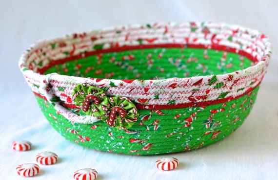Christmas Decoration, Handmade Holiday Card Basket, Decorative Christmas Bowl, Homemade Napkin Basket, Coiled Rope Bowl