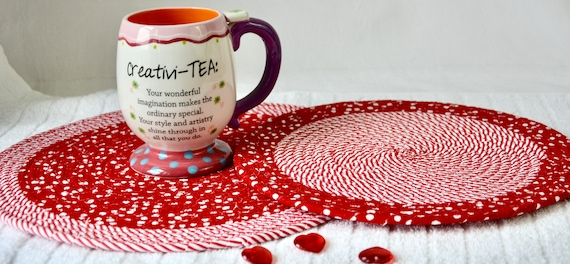 Valeninte's Day Table Toppers, 2 Red Place Mats, Handmade Hot Pads, Winter Trivets, Cute Table Mats, Fun Party Decoration