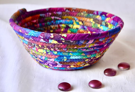 Boho Batik Basket, Handmade Rustic Purple Bowl, Candy Dish, Quilted Cotton Basket, Boho Chic Fabric Bowl, Key Change Bowl