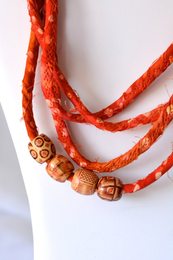 Cute Fall Necklace, Infinity Rope Bracelet, Handmade Fabric Necklace, O60, Halloween Batik Fiber Jewelry, Orange Clotheline Necklace