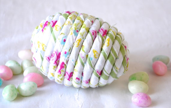Green Easter Egg Home Decor, Handmade Easter Egg Ornament, Hand Coiled Fiber Easter Egg, Fabric Basket Filler