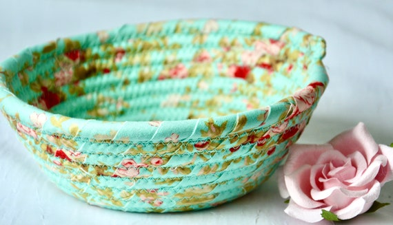 Shabby Chic Basket, 1 Handmade Turquoise Bowl, Cute Desk Accessory, English Garden Ring Dish, Dresser Key Tray, Potpourri Bowl