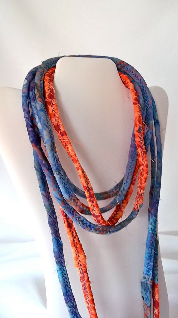 Fall Rope Necklace, Infinity Fabric Necklace, Handmade Autumn Rope Necklace, Fall Corded Quilted Necklace, Hand Wrapped