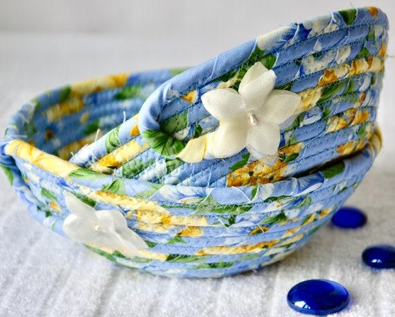 Blue Nesting Bowls, Handmade Fabric Basket Set, 2 Blue Ring Dishes, Key Holder, Catchall, Jewelry Tray, Potpourri Bowl, Candy Dish