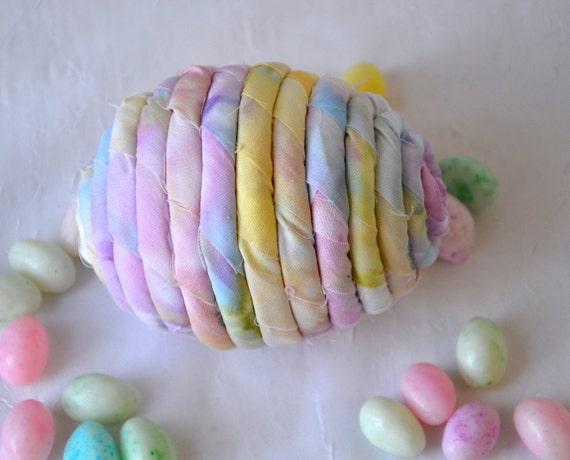 Pastel Easter Egg Ornament, Handmade Easter Egg Decoration, Bowl Filler, Easter Egg Hunt, Hand Coiled Fiber Easter Egg