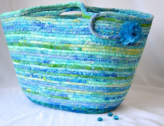 Turquoise Tote Bag, Handmade Textile Art Basket, Coiled Rope Basket with handle, Quilted Fabric Bin, Knitting Project Bag, Storage Container