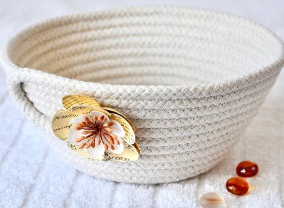 Neutrals Rope Bowl, Handmade Minimalist Basket, Key Basket, Natural Line Candy Dish, Farmhouse Chic Ring Dish, Desk Accessory
