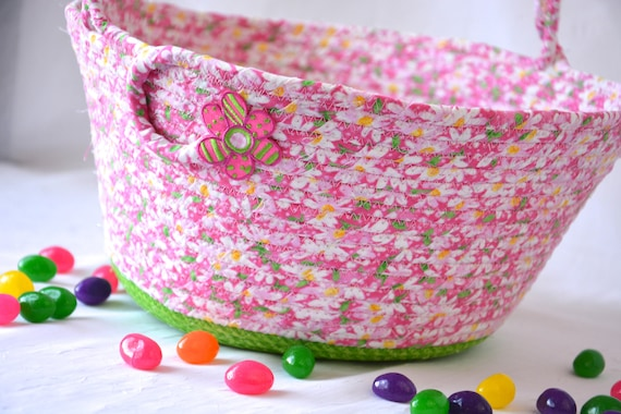 Summer Picnic Basket, Pink Flower Girl Basket, Handmade Wedding Basket, Baby Girl Home Decor, Diaper Holder, Lotion Bin, Paper Plate Holder
