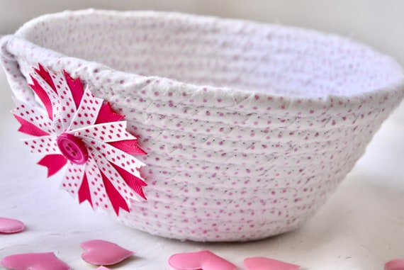 Valentine's Day Gift, Cute Girl Basket, Baby Nursery Home Decor, Handmade Quilted Basket, Pink Pacifier Holder, Cute Toy Holder