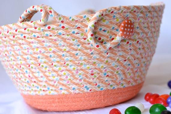 Orange Easter Basket, Handmade Easter Bucket, Storage Bin, Boy Room Storage Organizer, Artisan Quilted Basket, Rope Fabric Basket