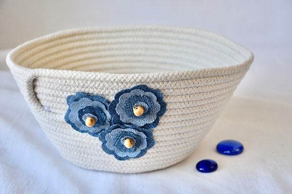 Neutrals Napkin Basket, Recycled Denim Jean Bowl, Handmade Quilted Clothesline Basket, Upcycled Jean Flower Bowl,  Minimalist Rope Bowl