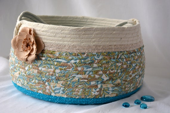 Aqua Bolga Basket, Yarn Holder, Handmade Coiled Basket, Lovely Storage Organizer, Knitting Project Bag, Decorative Basket