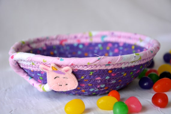 Unicorn Ring Dish, Key Bowl, Quilted Rope Basket, Handmade Pink Bowl, Candy Dish, Whimsical Creature Bowl, Cute Fairy Dust Bowl