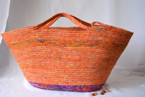 Fall Market Basket, Tote Bag, Handmade Batik Basket, Picnic Basket, Laptop Purse Case, Unique Coiled Rope Basket, Clothesline Art OOAK