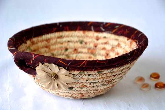 Fall Decor Bowl, Maroon Fabric Basket, Desk Accessory Basket, Halloween Change Dish, Coin Holder, Fall Halloween Decoration