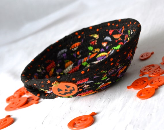 Fall Decoration, Black Fabric Basket, Potpourri Bowl, Desk Accessory Basket, Change Dish, Coin Holder, Stocking Stuffer, Candy Dish