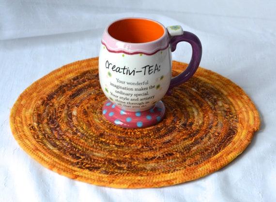 Fall Place Mat, Autumn Table Mat, Handmade Hot Pad, Autumn Table Topper, Rope Potholder, Indian Corn Batik Mug Rug
