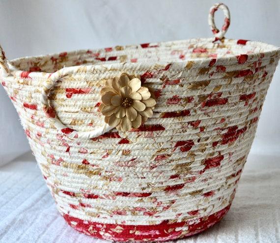 Beige Waste Basket, Handmade Handled Basket, Shawl Holder, Paper Recycle Bin, Unique Floral  Dust Bin, Bedroom Waste Paper Basket, Office