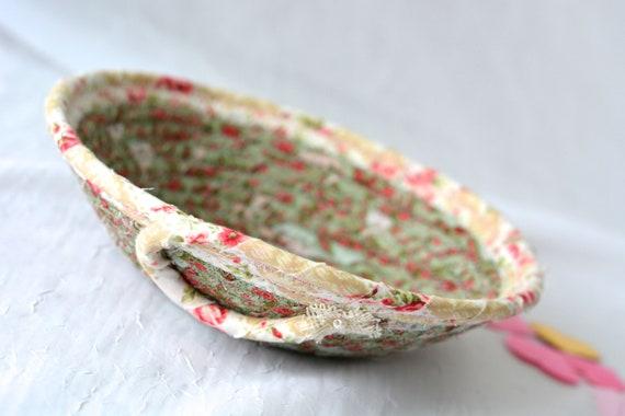 Shabby Chic Basket, English Garden Floral Bowl, Green Floral Ring Dish, Handmade Makeup Organizer, Gift Basket, Coiled Rope Basket