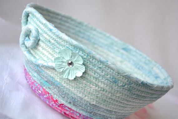 Pastel Aqua Bowl, Handmade Batik Fabric Basket, Decorative Coiled Basket, Summer Gift Basket, Batik Catchall, Yarn Bowl, Napkin Holder