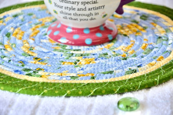 """Blue Place Mat, 11"""" Handmade Green and Blue Trivet, Spring Table Mat, 1 Floral Hot pad, Hand Coiled Potholder, Table Topper"""
