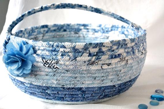 Blue Bolga Basket, Storage Container, Handmade Textile Art Basket, Designer Rope Basket with handle, Shabby Chic Fabric Bin, Garden Party