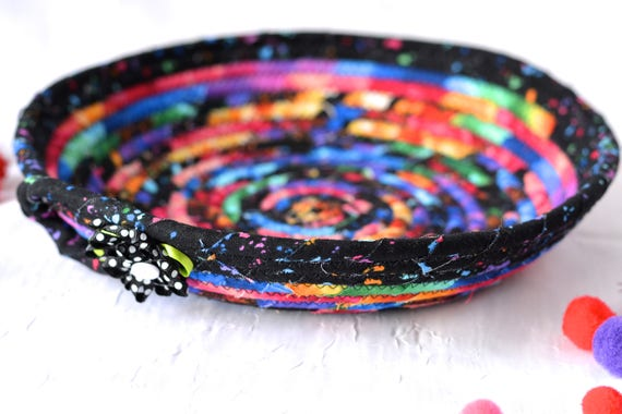 Unique Gift Basket, Cute Desk Accessory Bowl, Black Fiber Basket, Artisan Quilted Gift Basket, Decorative Coiled Bowl