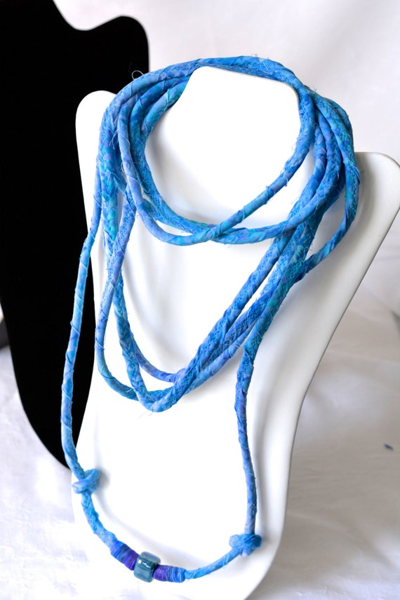 Blue Fabric Necklace, Handmade Skinny Necklace, Multi Strand Infinity Necklace, Boho Batik Necklace, Bohemian  Chic Fabric Jewelry