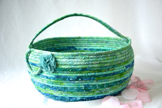 Jade Bolga Basket, Storage Container, Handmade Textile Art Basket, Coiled Rope Basket with handle, Fabric Bin, Knitting Project Bag