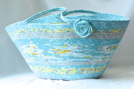 Baby Blue Hamper, Boy Toy Basket, Tote Bag, Handmade Moses Basket, Laptop Purse Case, Unique Coiled Rope Basket, Clothesline Project Bag