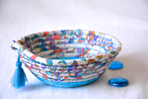 Blue Rope Basket, Pretty Ring Dish, Quilted Fiber Art Bowl, Handmade Key Holder, Hand Coiled Fabric Basket, Aqua Floral Basket