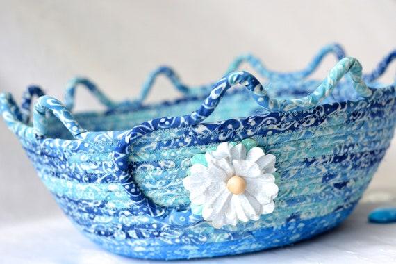Blue Coiled Basket, Decorative Textile Art Basket, Soft Fiber Pottery, Handmade Batik Bowl, Modern Rope Fabric Basket, Yarn Basket