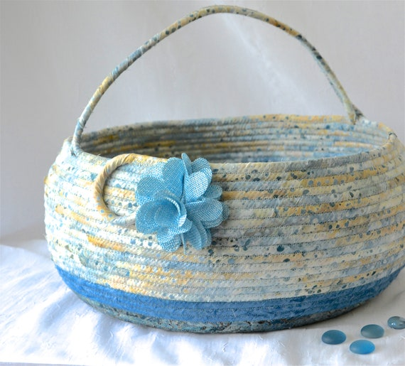Beautiful Bolga Basket, Handmade Textile Art Basket, Blue Coiled Rope Basket with handle, Farmhouse Fabric Bin, Cottage Chic Beach Basket