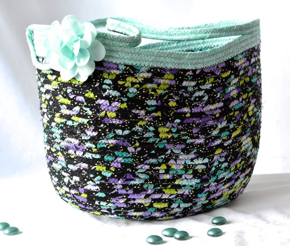 Rope Tote Bag, Handbag, Handmade Storage Basket, Lovely Shopping Basket with handle, Decorative Aqua Home Decor. Purse, Handbag
