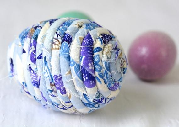 Purple Easter Egg Ornament, Handmade Lavender Floral Easter Egg Decoration, Bowl Filler, Easter Egg Hunt, Hand Coiled Fiber Easter Egg