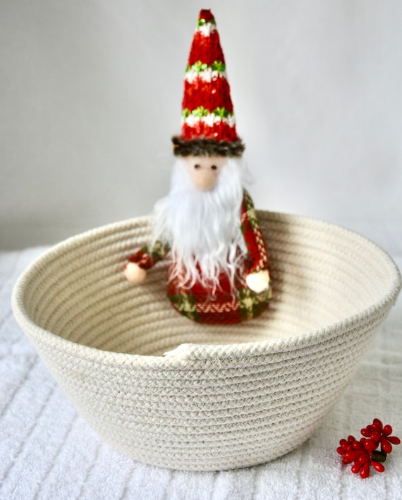 Gnome Gift Basket, Handmade Christmas Bowl, Neutrals Clothesline Basket, Cute Holiday Decor, Country Fruit Bowl,  hand coiled rope basket