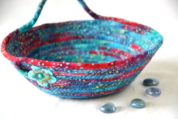Bahama Blue Basket, Boho Rope Bowl, Handmade Rustic Batik Key Basket, Decorative  Bowl, Girl Ring Dish Tray
