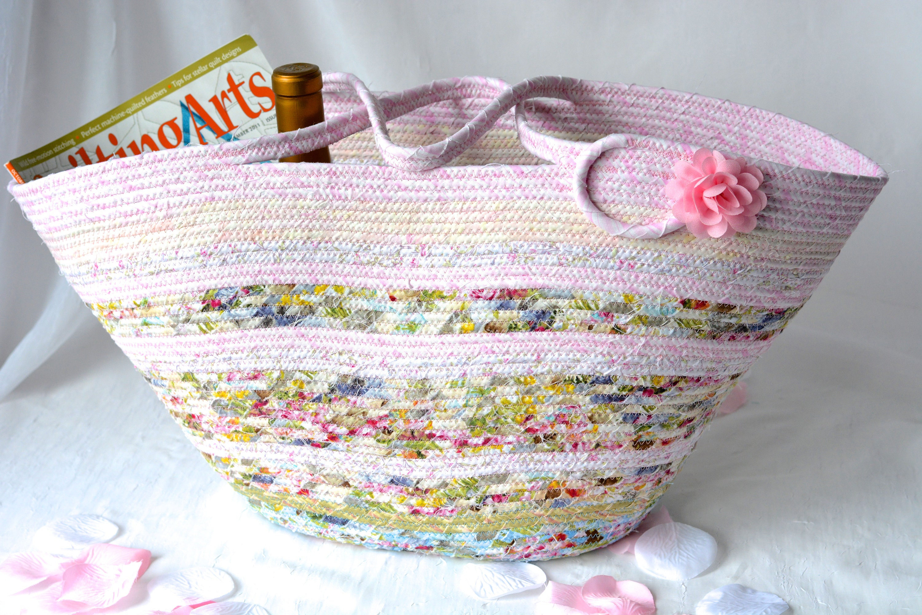 Handmade Quilted Basket Decorative Pink Floral Beach Bag Shabby Chic Tote Bag Handled Picnic  Basket Baby Shower Gift