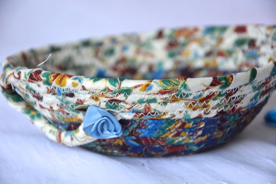Blue Trinket Basket, Lovely Quilted Bowl, Handmade Lotion Holder, Hand Coiled Rope Basket, Pretty Ring Dish, Key Tray, Wallet Holder