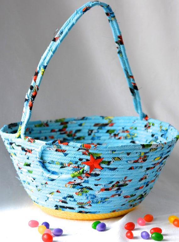 Boy Easter Basket, Handmade Easter Bucket, Baby Boy First Basket, Boy Easter Bucket, Blue Coiled Fabric Basket, Artisan Rope Bowl