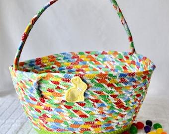 Easter Basket Handled, Handmade Easter Egg Hunt Bag, Baby Boy Easter Bucket, Cute Nursery Decoration, Toy Bin Holder