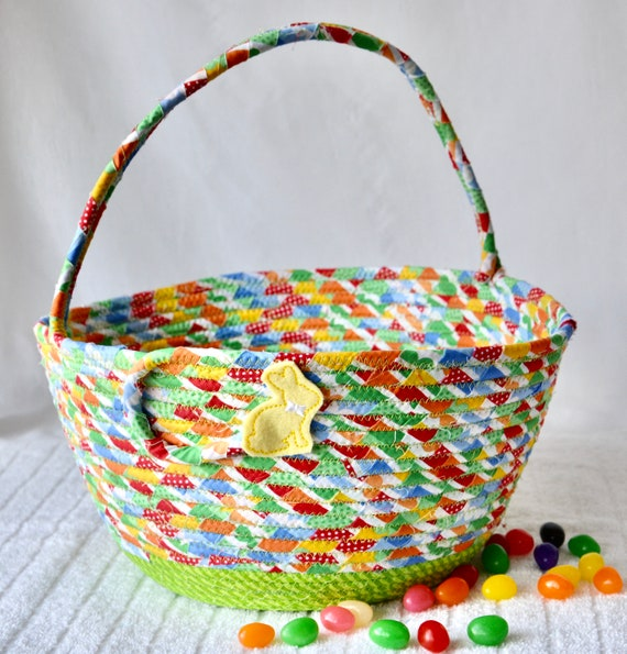 Easter Basket Handled, Handmade Easter Egg Hunt Bag, Baby Boy Easter Bucket, Cute Spring Green Decoration, Jelly Bean Holder
