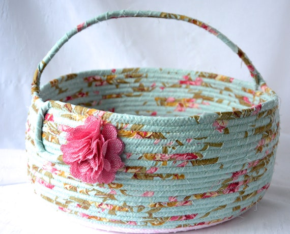 Shabby Floral Basket, Handmade Textile Art Basket, Designer Rope Basket with handle, Shabby Chic Fabric Bin, Garden Party Bowl