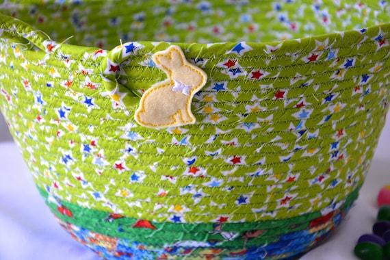 Boy Easter Basket, Handmade Green Easter Bucket, Cute Bunny Candy Holder, Fun Easter Egg Hunt Bag, Easter Decoration, Free Name Tag