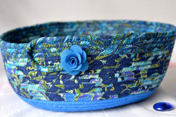Blue Fabric Bowl, Handmade Fiber Art Basket, Coiled Quilted Bowl, Decorative Azure Basket, Napkin Holder, Eyeglass Key Bowl
