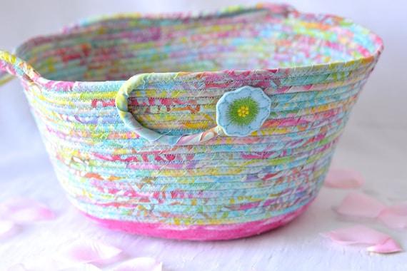 Beautiful Batik Basket, Handmade Easter Basket, Flower Girl Basket, Gorgeous Fiber Pottery Basket, Girl Easter Bucket
