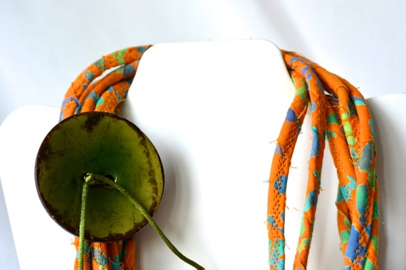 Fall Batik Necklace, Handmade Rustic Fiber Jewelry, Multi Strand Infinity Necklace, Skinny Trendy Fabric and Rope Wrap